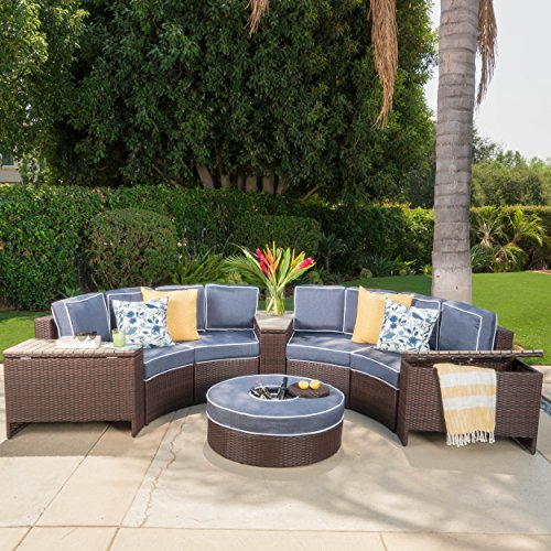 - Riviera Otranto Outdoor Patio Furniture Wicker 8 Piece Semicircular Sectional Sofa Seating Set w/Waterproof Cushions (Ice Bucket Ottoman, Navy Blue)