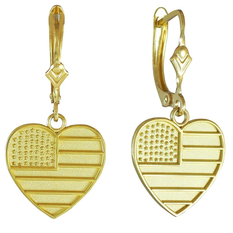 10k Yellow Gold Heart Shaped US American Flag Leverback Earrings