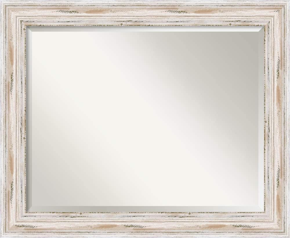 Amanti Art Framed Mirrors for Wall | Alexandria White Wash Mirror for Wall | Solid Wood Wall Mirrors | Medium Wall Mirror 33.12 x 27.12 in.