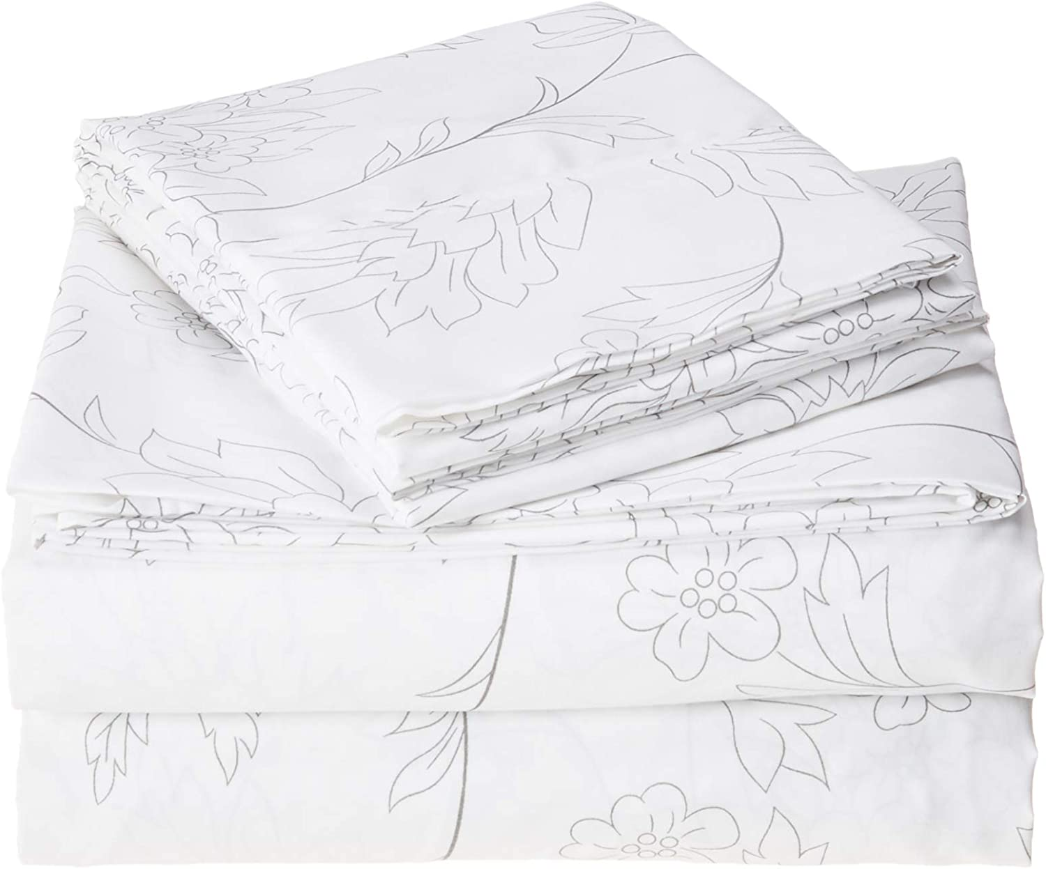 ienjoy Home 4 Piece Sheet Set Patterned, California King, Vine Gray
