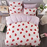 Lightweight Microfiber Duvet Cover Sets,red strawberry stripes Pattern Design - Queen Size