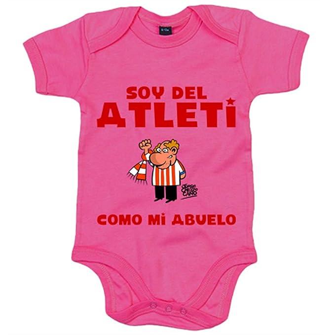 Body bebé Atlético de Madrid soy del atleti como mi abuelo - Amarillo, 6-12 meses: Amazon.es: Bebé