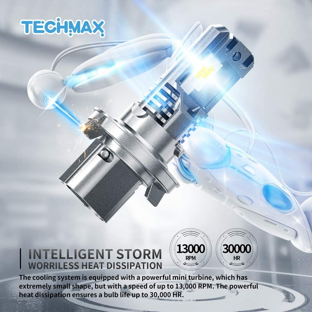 TECHMAX H13 LED Headlight Bulbs,Small Design 60W 10000Lm 6500K Xenon White ZES Chips Extremely Bright 9008 Conversion Kit of 2