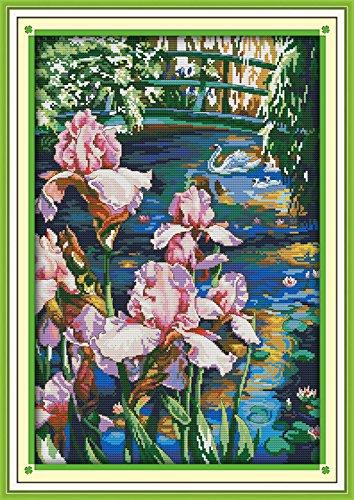Iris Cross Stitch Pattern (Astitch Stamped Cross Stitch Kits Iris pool)