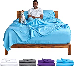 Sheets & Giggles 100% Eucalyptus Lyocell Sheet Set. Our All-Season Eucalyptus Sheets are Sustainably Made, Naturally Cooling, Super Soft, Moisture-Wicking, Chemical-Free, Hypoallergenic – King, Blue