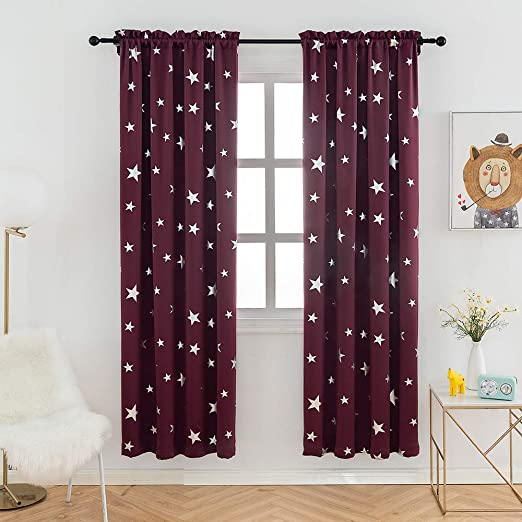 Amazon Com Anjee Red Curtains For Bedroom 84 Inch Long Blackout Drapes With Rod Pocket Thermal Insulated 38 X 84 Inches Home Kitchen