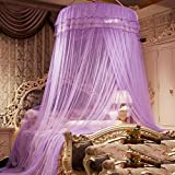 DE&QW Dome ceiling mosquito net, Encrypted princess dome bed canopy game tent-D Full-size