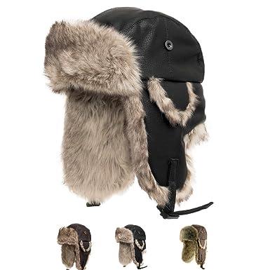 bfc3e49ffa2b8 Ushanka Trooper Russian Pilot Aviator Leather Winter Trapper Hat BLACK 6 7 8
