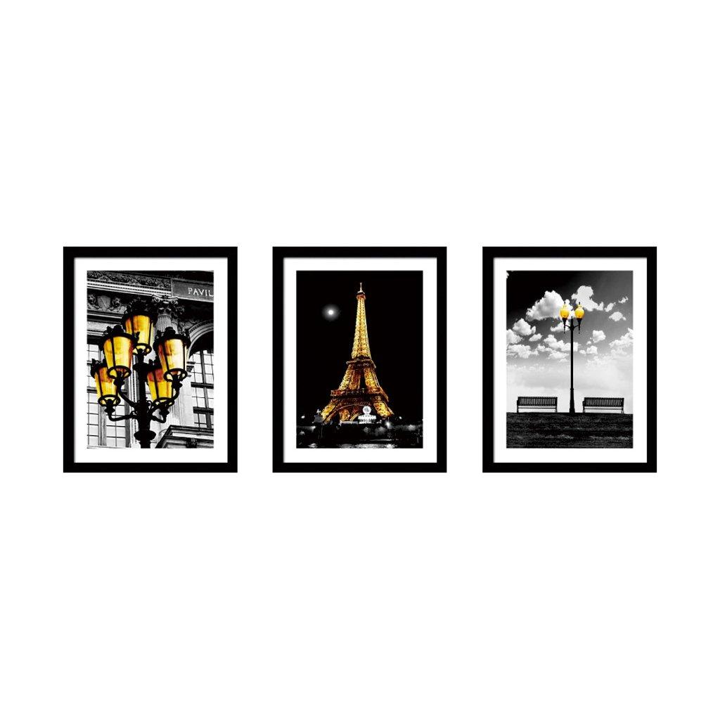 3 Frame Black And White Photo Frame Wood Color Triple Living Room Sofa Restaurant 16 Inch 33 44cm ( Color : Black ) by Boyang (Image #1)