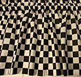 Valance Black and White Check Race Car or Fat Chef Theme Curtain Window Topper