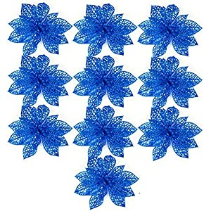 Ninko 10 Pieces 15 cm Artificial Hollow Poinsettia Flower For Christmas Tree Wreath House Decoration Blue Flower With Shining Edge 13