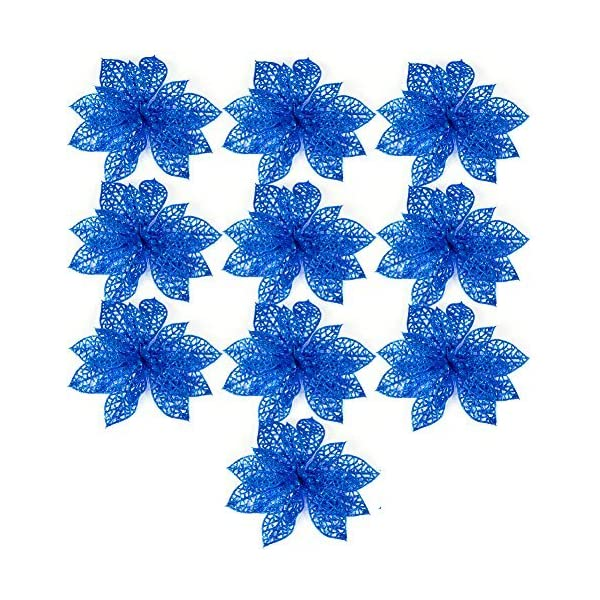 Ninko-10-Pieces-15-cm-Artificial-Hollow-Poinsettia-Flower-For-Christmas-Tree-Wreath-House-Decoration-Blue-Flower-With-Shining-Edge
