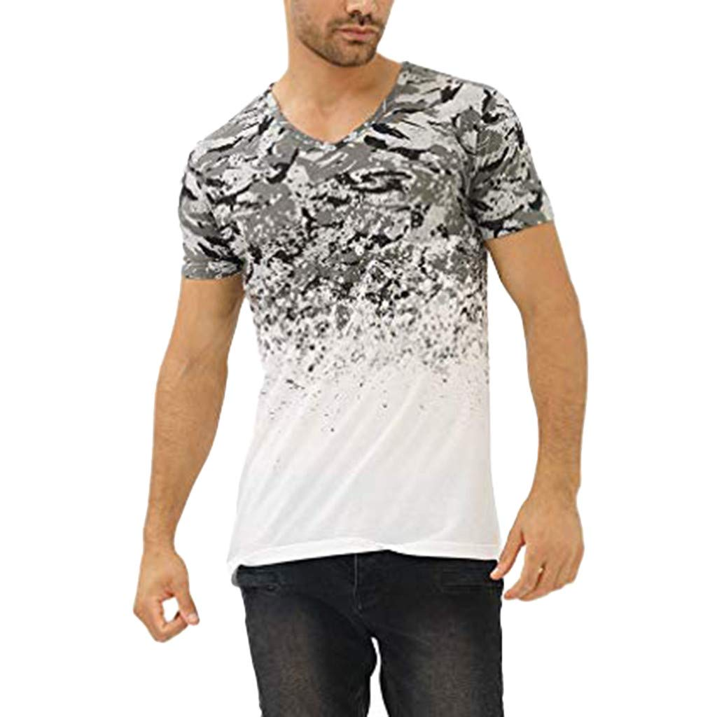 Xlala T Shirt for Men Summer Fashion Casual Camouflage Print Short Sleeve Stitching V Neck Top Fitness Elastic Tees
