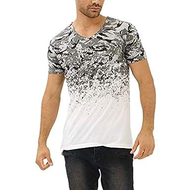 96a02dd30 Kailemei_shirt Summer Men's Fashion Stitching T-Shirt Top Blouse Casual  Print Short Sleeve | Amazon.com