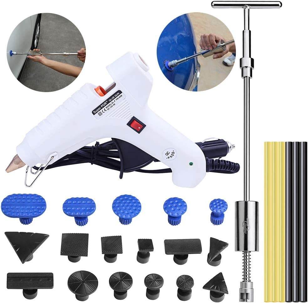 Uhomer Dent – Juego de herramientas para reparación de abolladuras, con pistola de fusión y pegamento, kit de reparación para coche, abolladuras, puertas, granizo, daños