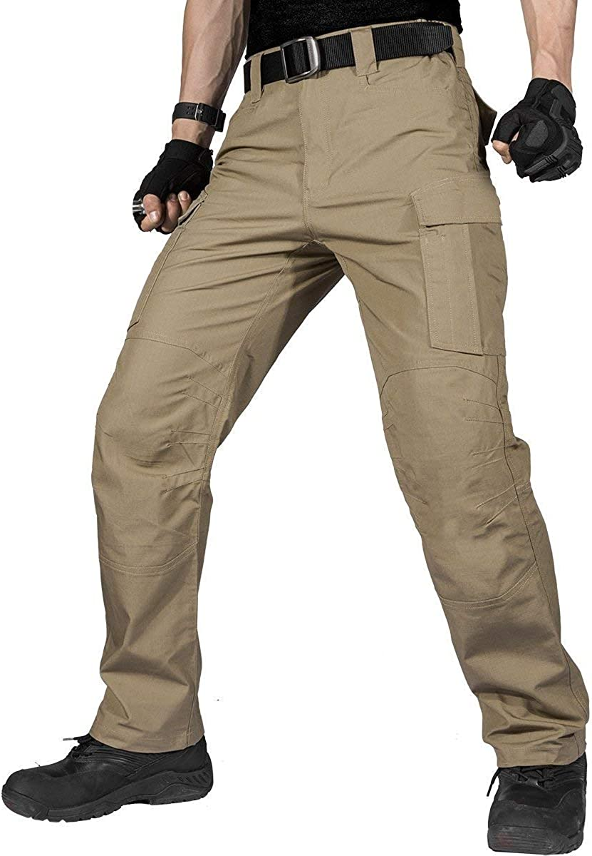 FREE SOLDIER Men's Water Resistant Pants Relaxed Fit Tactical Combat Army Cargo Work Pants with Multi Pocket