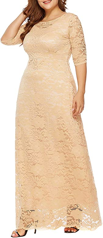 FeelinGirl Cocktail Dress for Women Plus Size Long Skirt Short Sleeve Evening Gown Elegant