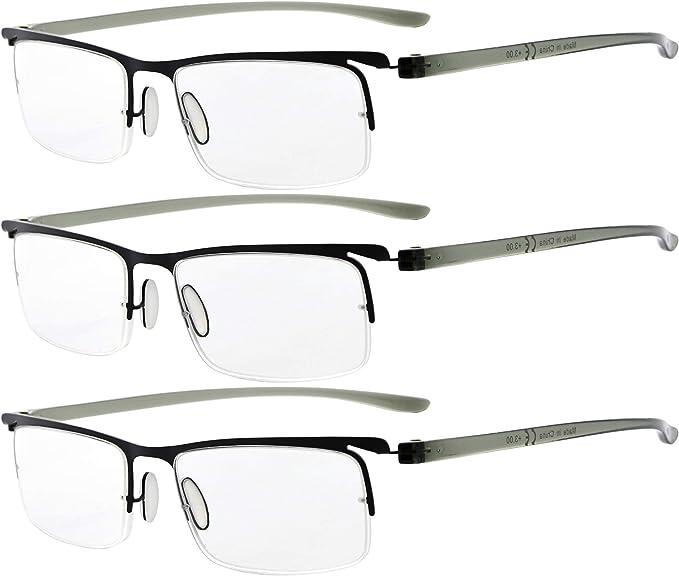 Eyekepper Lot de 3 Demi-jante lunettes de lecture//de vue Legere Demi-cerclees Hommes Femmes