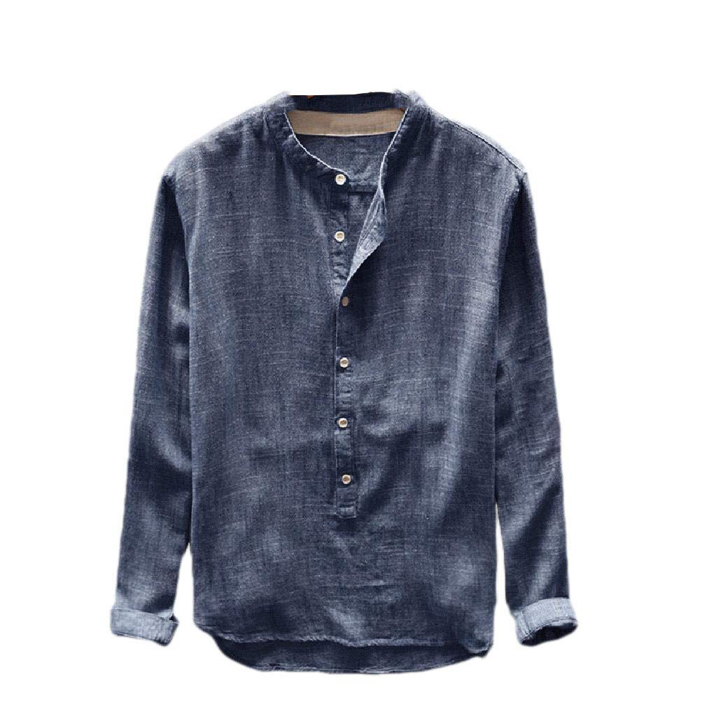 RDHOPE-Men Buttoned Linen Relaxed-Fit Solid-Colored Long-Sleeve Shirts