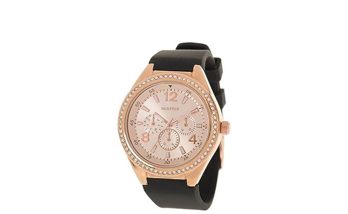 Parfois - Reloj Rhinestone - Mujeres - Tallas M - Negro: Amazon.es: Relojes