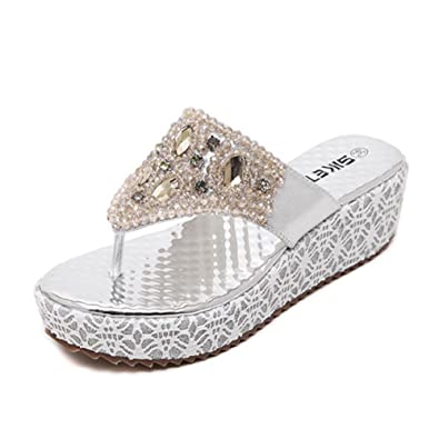 Minetom Damen Mode Sandalen Faux Strass Perlen Flip Flops Sommer Pantoffeln Mit Keilabsatz Silber 38 p205z