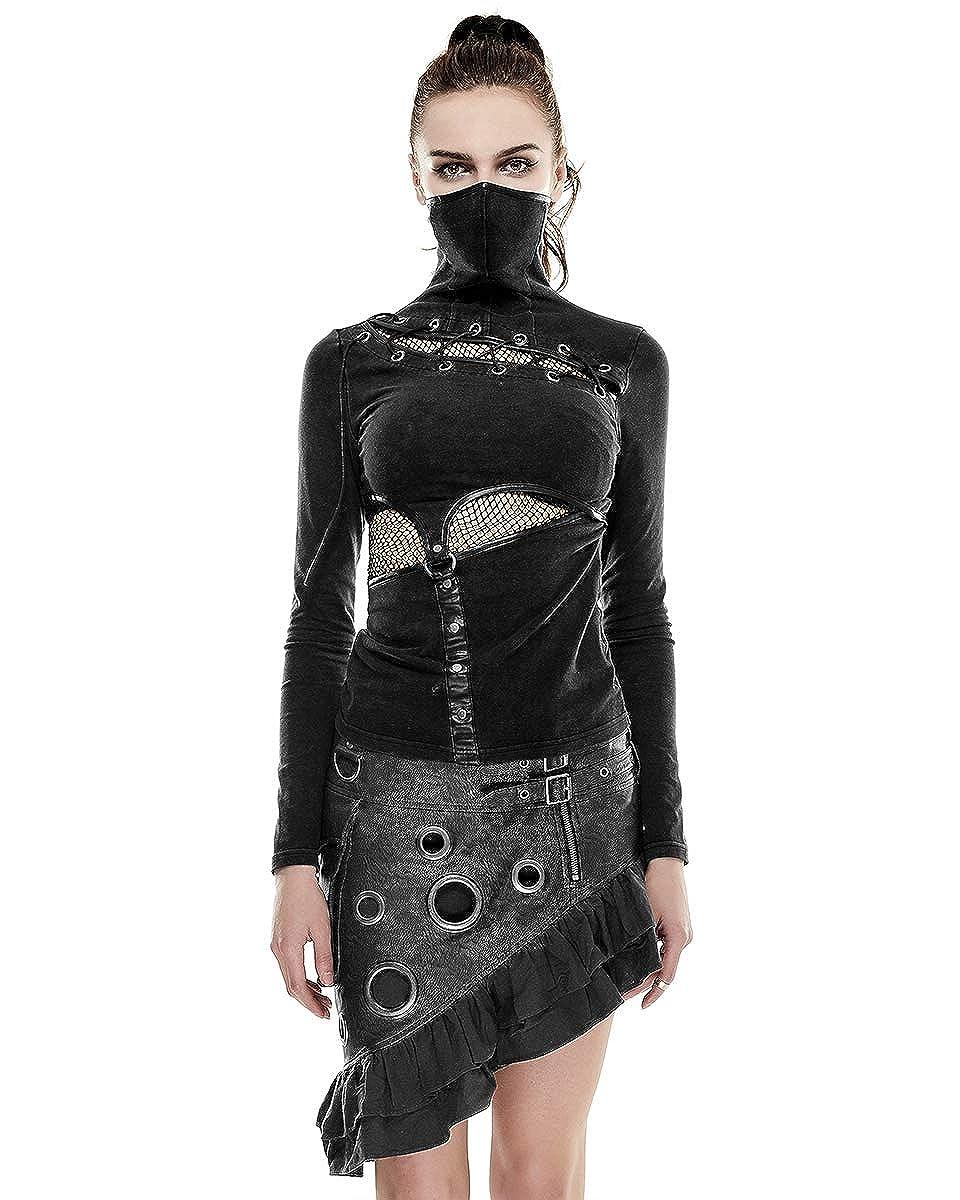 Punk Rave distopía Top Negro para Mujer Dieselpunk Fangbanger Punk Steampunk Silenciador tee