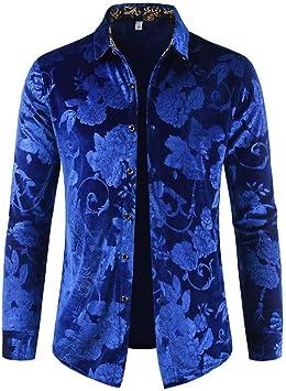 ACZZ Camisa casual de manga larga con estampado floral de vellón para hombre Camisa slim fit con botones,Azul,*L: Amazon.es: Bricolaje y herramientas