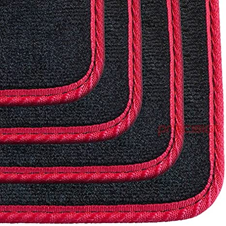 Precision Tailor Fitted Black Classic Car Mats with Red Solid for Ḱia Rio 2011-2016 PN.SFP-SSQ81RP