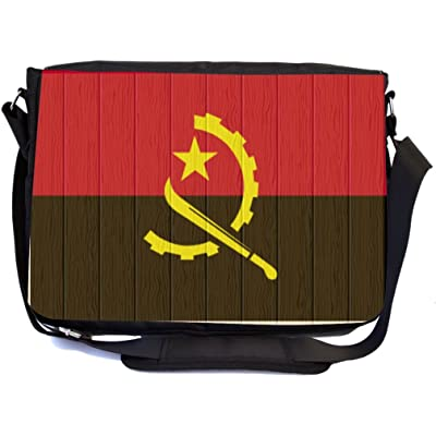 Rikki Knight Angola Flag on Distressed Wood Design Multifunction Messenger Bag - School Bag - Laptop Bag - with padded insert for School or Work - includes Pencil Case