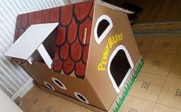 katzenhaus aus wellpappe mit m useh uschen katzenkorb katzenh hle haustier. Black Bedroom Furniture Sets. Home Design Ideas