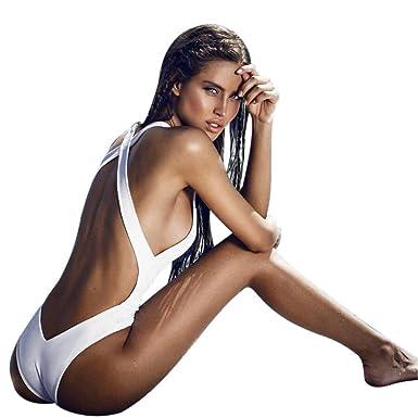feba20bac464 Hevoiok Damen Bademode Jumpsuit Sexy Sport Bikini-Sets Figurformend Push-up  BH Badeanzug Backless