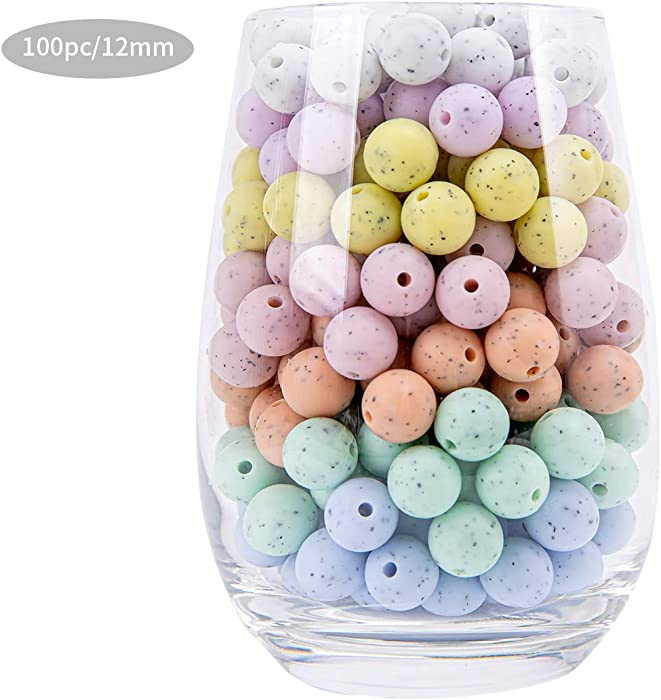 Silicone Beads BPA Free Baby Food Grade Silicone Chew Beads Necklace Bangle Shower Gifts (0.47inch/100PC)