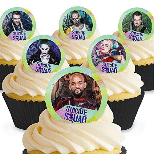 Cakeshop 12 x PRE-CUT Suicide Squad Edible Cake -