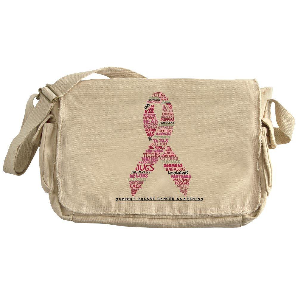 Royal Lion Khaki Messenger Bag Pink Ribbon Breast Cancer Awareness