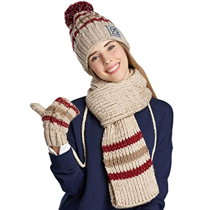 3cd52874727 MERRYHE Womens Knitted Beanies Hats Scarf Gloves Sets 3 Piece Winter  Scarves Crochet Hat Set Beanies