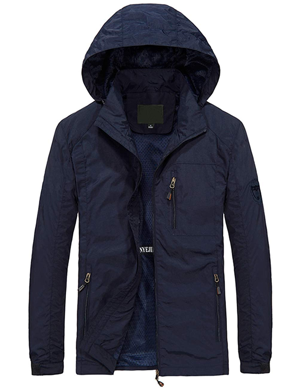 Pinkpum Mens Hooded Lightweight Windbreaker Jacket Softshell FY0219