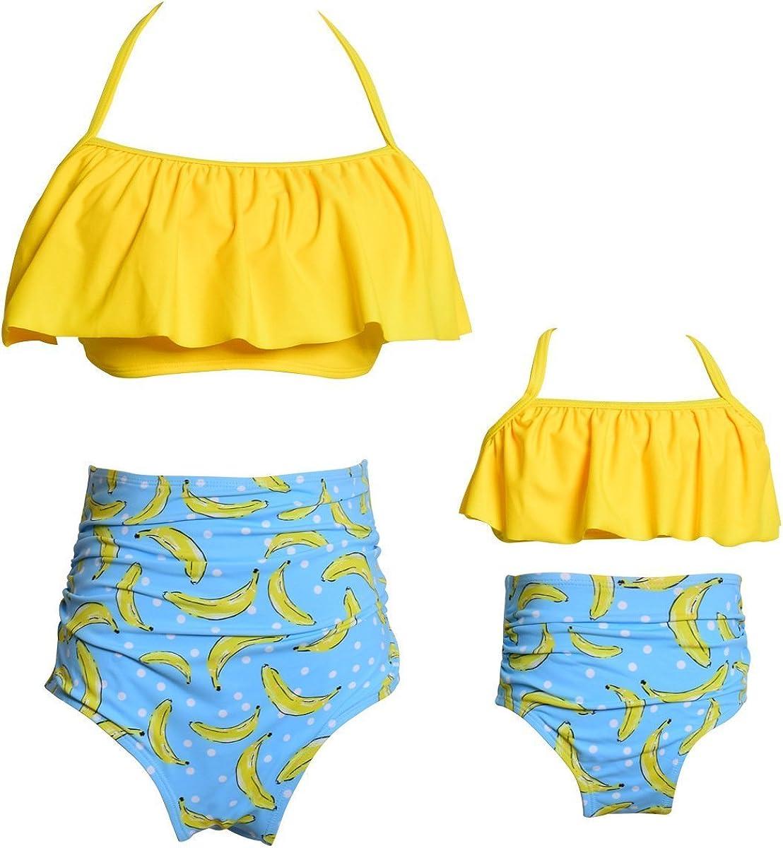 Girls Kids Swimsuit Two Pieces Bikini Set Ruffle Falbala Swimwear Bathing Suits