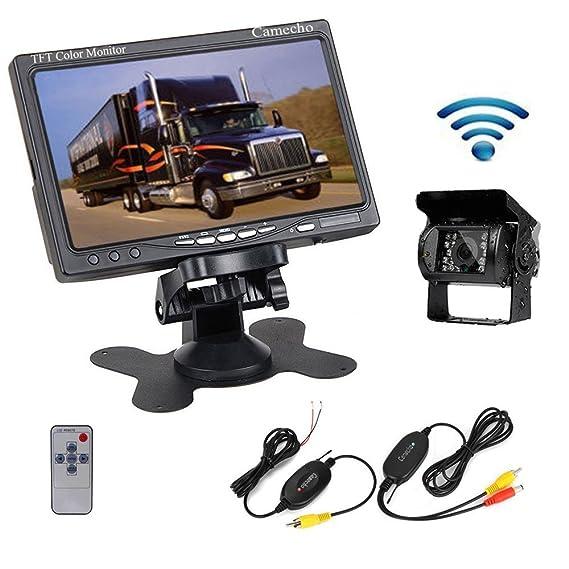 aa44487a8ccf42 Camecho RC 12V 24V Car Backup Camera Rear View Wireless IR Night Vision  Backup Camera Waterproof
