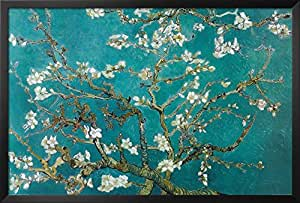 Professionally Framed Vincent Van Gogh Turquoise Almond Branches in Bloom, San Remy Art Poster Print - 24x36 with RichAndFramous Black Wood Frame