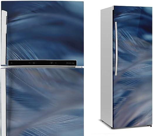 Vinilo Decorativo para Nevera y Frigorífico | 185 x 70 cm | Pluma Azul | Papel Adhesivo Vinílico Impermeable y Removible para Decorar el Hogar y Cocina: Amazon.es: Hogar