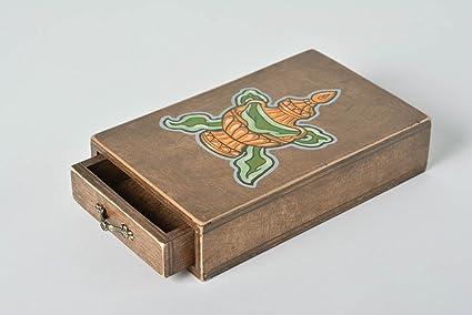 Caja de madera decorada con pintura estilosa hecha a mano original inusual