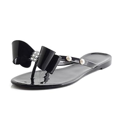 af7e31bd Omgard Flip Flops for Womens, Jelly Sandals Black Womans Summer Flat Soft  Comfortable Thong Size