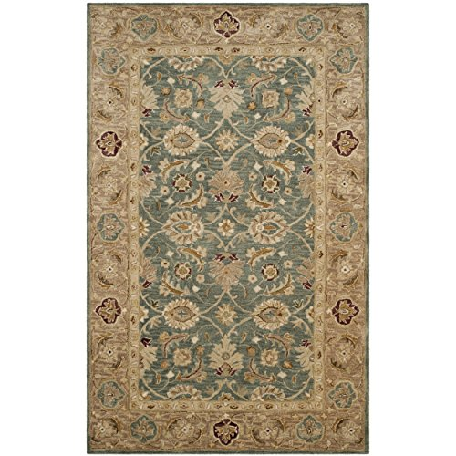 Rugs Area Persian Wool - Safavieh Oriental Persian-4 Antiquity Collection Handmade Taupe Premium Wool Area Rug 4' x 6' Teal Blue