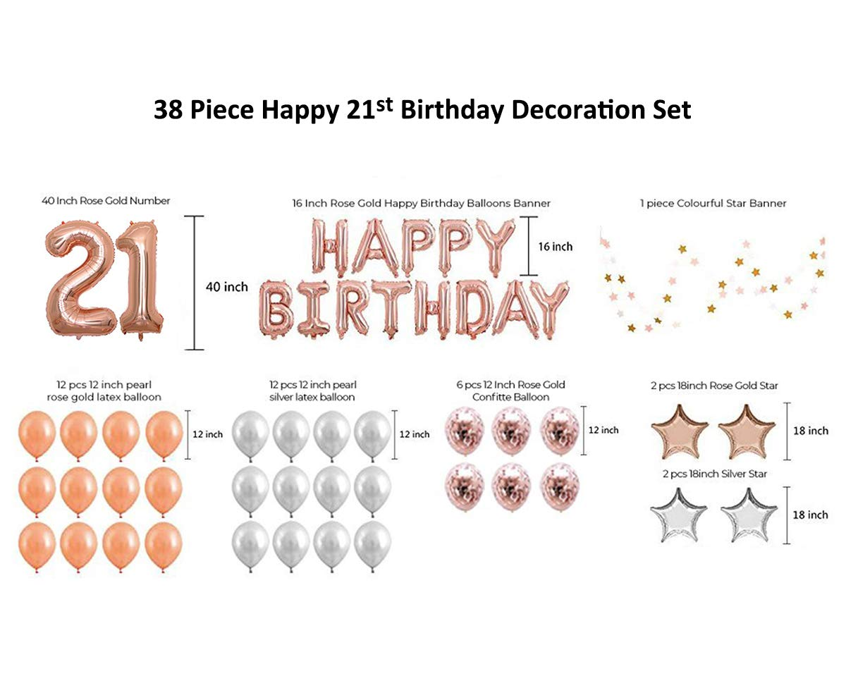 21st Birthday Rose Gold Balloons Decorations Set, ICheap Happy Birthday Banner 12'' Rose Gold Balloons and Stars Foil Balloons,40'' Number 21 for Adults Kids Girls Boys Party Supplies by ICheap (Image #7)