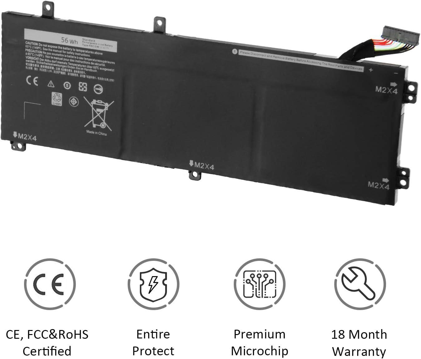 K KYUER 56Wh RRCGW Laptop Battery for Dell XPS 15 9550 Infinity Precision 15 5510 Mobile Workstation 0RRCGW M7R96 62MJV 062MJV 451-BBFM 5D91C 05041C D1828 KHCK5 3-Cell 11.4V Replacement Battery
