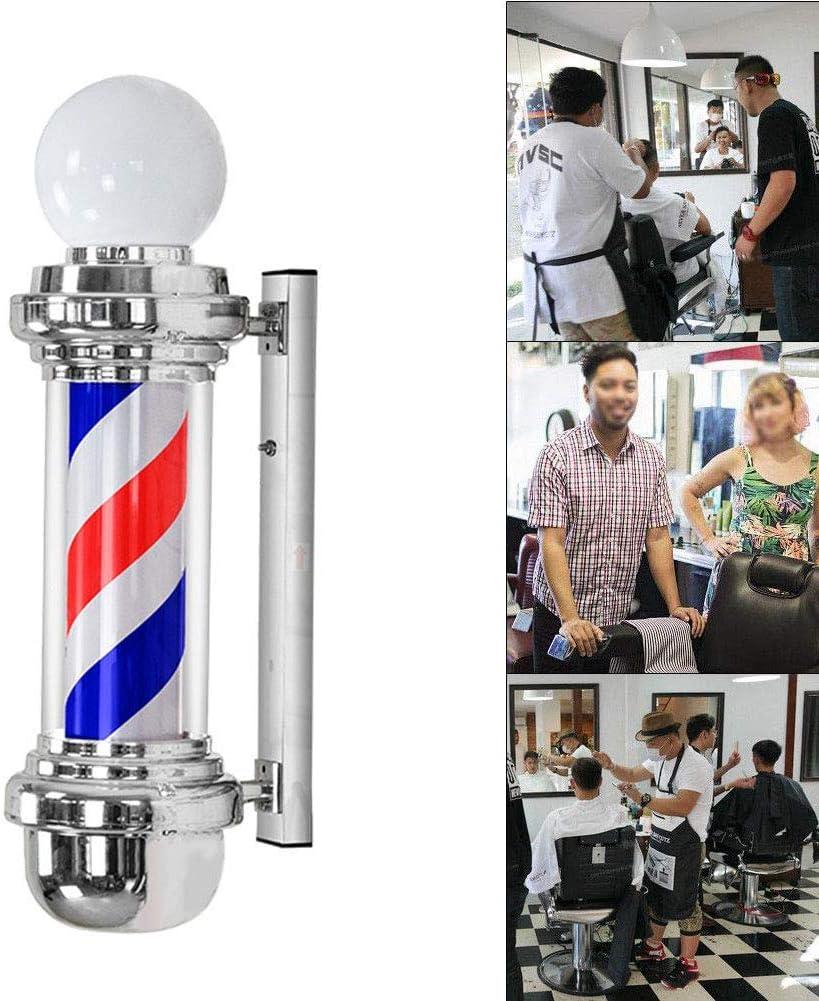 """26.8""""バーバーポールは、ライトレトロなサロン理髪店の看板を照らす回転赤白青ストリップ防水保存エネルギーウォールランプ"""