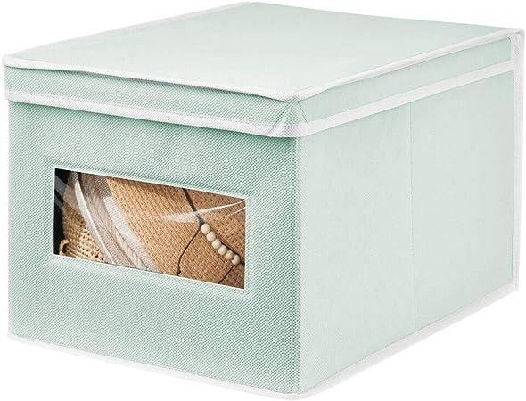 mDesign Caja de Tela Grande – Práctico Organizador de armarios con Tapa para Dormitorio, salón o baño – Caja de almacenaje apilable de Fibra sintética Transpirable – Verde Menta y Blanco: Amazon.es: Hogar