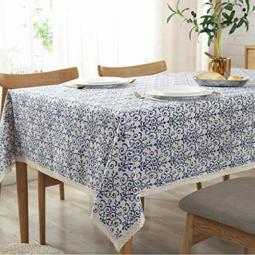 (Bringsine Washable Cotton Linen Fabric Vintage Navy Damask Pattern Decorative Macrame Lace Square Tablecloth Dinner Picnic Table Cloth Home Decorative Table Cover Assorted)