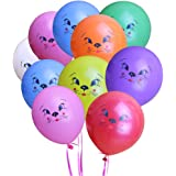"KUMEED Cat Face Balloons Mixed Color 12"" Latex Pet Animal Balloon Birthday Party Decor Children Kids Gift Pack of 50"