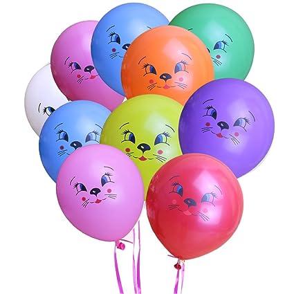 KUMEED Cat Face Balloons Mixed Color 12quot Latex Pet Animal Balloon Birthday Party Decor Children